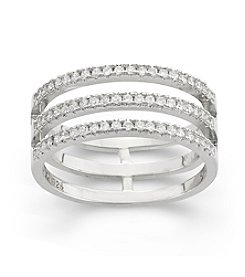 Sterling Silver Cubic Zirconia 3 Row Ring