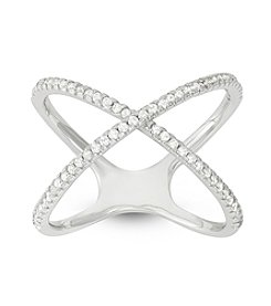 Sterling Silver Cubic Zirconia X Ring