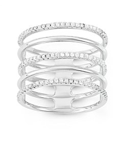 Sterling Silver Cubic Zirconia 5 Row Alternating Ring