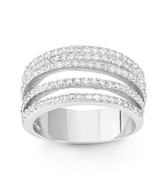 Sterling Silver Cubic Zirconia 5 Row Ring
