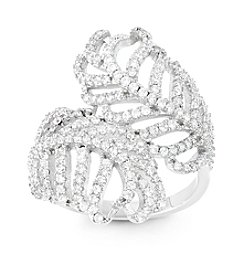Sterling Silver Cubic Zirconia Feather Ring