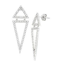 Sterling Silver Cubic Zirconia Double Triangle Dangle Earrings