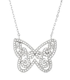 Sterling Silver Cubic Zirconia Butterfly Necklace