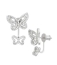 Sterling Silver Cubic Zirconia Double Butterfly Earrings
