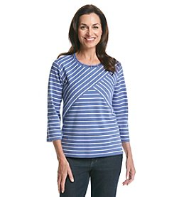 Alfred Dunner® Lake Meade Spliced Stripe Knit Top