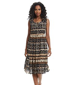 Notations® Biadere Print Tiered Dress