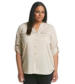 Calvin Klein Plus Size Roll Tab Blouse