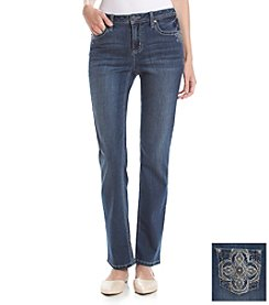 Earl Jean® Flower Bling Back Pocket Straightleg Jean