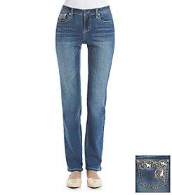 Earl Jean® Floral Border Bling Back Pocket Straight Leg Jeans