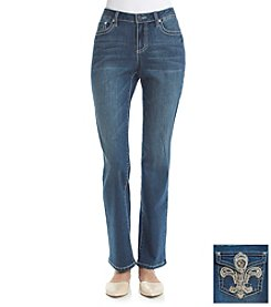 Earl Jean® Fleur De Lis Bling Flap Back Pocket Straight Leg Jeans