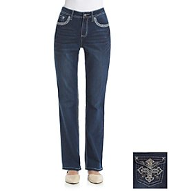 Earl Jean® Cross Bling Flap Back Pocket Bootcut Jean
