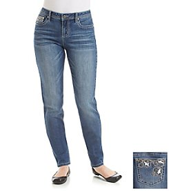 Earl Jean® Petites' Floral Bling Patch Back Pocket Skinny Jean