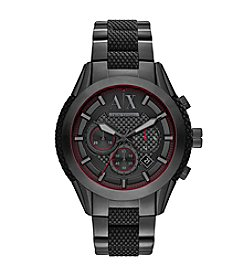A|X Armani Exchange Men's Black IP Watch With Stainless Steel Bracelet