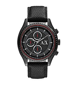A|X Armani Exchange Men's Black IP Watch With Textured Strap