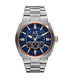 A|X Armani Exchange Men's Silvertone Watch With Blue Dial