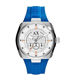 A|X Armani Exchange Men's Silvertone Watch With Blue Silicone Strap