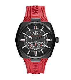 A|X Armani Exchange Men's Black IP Watch With Red Silicone Strap