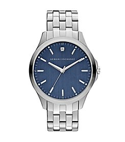 A|X Armani Exchange Men's Silvertone Watch With Diamond On Blue Dial
