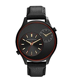 A|X Armani Exchange Men's Black IP Dual Time Watch With Leather Strap
