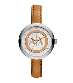 A|X Armani Exchange Women's Two Tone Watch With Tan Leather Strap