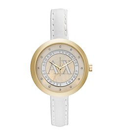 A|X Armani Exchange Women's Two Tone Watch With White Leather Strap
