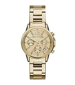 A|X Armani Exchange Women's Goldtone Watch With Glitz On Goldtone Dial