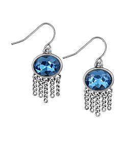 The Sak® Silvertone Oval Stone Fringe Drop Earrings
