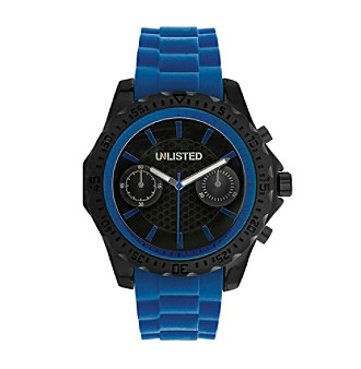 Unlisted by Kenneth Cole® Men's Blue Silicone Strap Watch