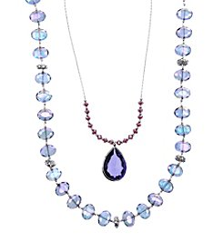 Lonna & Lilly Silvertone Purple Beaded Necklace