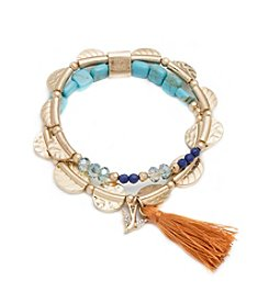 Lonna & Lilly Linked Goldtone And Blue Beaded Stretch Bracelet
