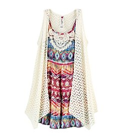 Beautees Girls' 7-16 Print Dress With Knit Vest