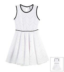 Beautees Girls' Chevron Textured Flare Dress