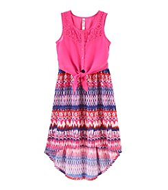 Beautees Girls' 7-16 Tie Front Dress With Crochet Neck