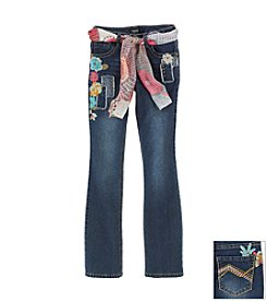 Squeeze® Girls' 7-16 Floral Patch Jeans With Sash