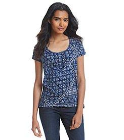 DKNY JEANS® Batik Print Studded Shirt