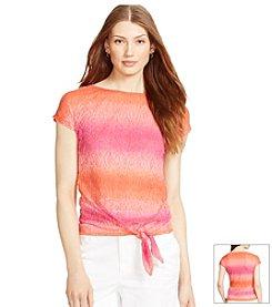 Lauren Ralph Lauren Printed Tied-Hem T-Shirt