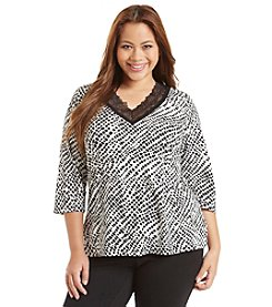 Chanteuse® Plus Size Lace Collar Lounge Shirt