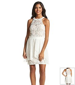 Morgan & Co.® Sequin Stretch Lace Dress