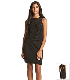 Morgan & Co.® Sequin Lace Ribbon Dress
