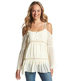 Living Doll® Cold Shoulder Peasant Top