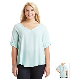 Living Doll® Plus Size Solid Woven Tee