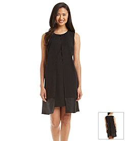S.L. Fashions Satin Trim Shift Dress