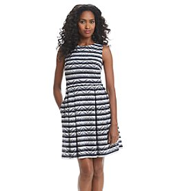 Marc New York Crochet Stripe Fit And Flare Dress