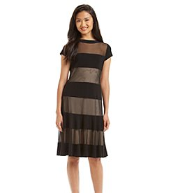 R&M Richards® Mesh Stripe Cocktail Dress