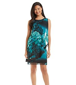 S.L. Fashions Floral Beaded Dress