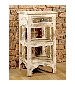 Alena Two Shelf Stand - Distressed White Finish
