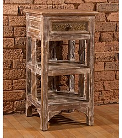 Alena Two Shelf Stand - Distressed Sandy Beige Finish