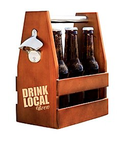 Cathy's Concepts Drink Local Wooden Craft Beer Carrier with Opener