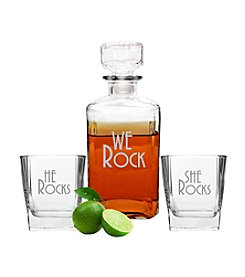 Cathy's Concepts We Rock Decanter and Glass Set