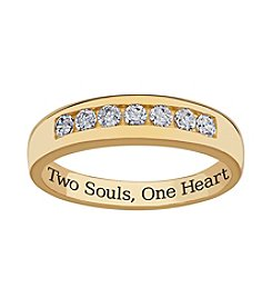 Sweet Sentiments 18k Gold over Sterling Silver Cubic Zirconia Wedding Band